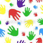Kids Handprint Seamless Vector Pattern Design