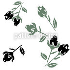 Black Roses Seamless Vector Pattern Design