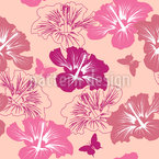 Hibiscus Flowers And Butterflies Seamless Vector Pattern Design