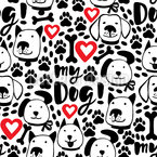 I Love My Dog Seamless Vector Pattern Design