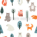 Cute Bears And Foxes Seamless Vector Pattern Design