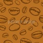 Grãos de café frescos Design de padrão vetorial sem costura