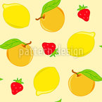 Citrus Fruits And Strawberries Seamless Vector Pattern Design