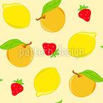 Zitrusfrüchte Und Erdbeeren Vektor Muster