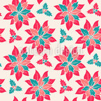 Festive Poinsettia Seamless Vector Pattern Design