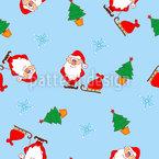 Papá Noel y el árbol de Navidad Estampado Vectorial Sin Costura