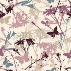 野生の花と蝶 シームレスなベクトルパターン設計
