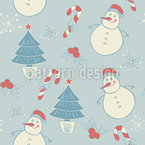 Snowman And Christmas Tree Seamless Vector Pattern Design
