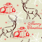 Deer And Gifts Seamless Vector Pattern Design