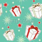 Presentes e estrelas de Natal Design de padrão vetorial sem costura