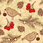 Vögel Und Tannenzweige Nahtloses Vektor Muster