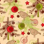 Weihnachtsbäume Und Vögel Vektor Muster