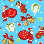 Papá Noel y Regalos de Navidad Estampado Vectorial Sin Costura