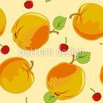 Reife Äpfel Und Kirschen Nahtloses Vektor Muster