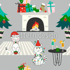 Christmas At Home Seamless Vector Pattern Design