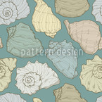 Handdrawn Seashells Seamless Vector Pattern Design