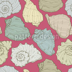 Vintage Seashells Seamless Vector Pattern Design