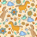 Horses And Birds Seamless Vector Pattern Design