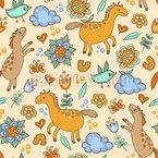 Pferde und Vögel Nahtloses Vektor Muster