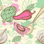 Legumes E Especiarias Design de padrão vetorial sem costura