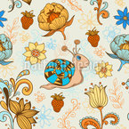 Kleine Schnecke Im Blumenparadies Nahtloses Muster