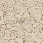 Seashells Sand Seamless Vector Pattern Design