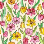 Tulipa Colorida Design de padrão vetorial sem costura