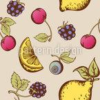 Saftige Früchte Und Beeren Nahtloses Muster