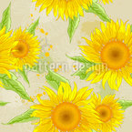 Blooming Sunflowers And Leaves Seamless Vector Pattern Design
