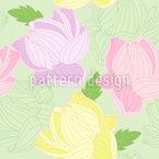 Lotus Blumen Und Blätter Nahtloses Vektormuster