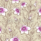 Growing Flowers And Leaves Seamless Vector Pattern Design
