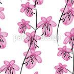 Blumen Aus Feinen Linien Nahtloses Vektormuster