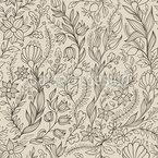 Flowery Outlines Seamless Vector Pattern Design
