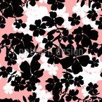 Floral Silhouette Garden Seamless Vector Pattern Design