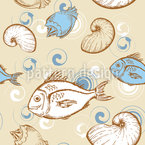 Fische Und Muscheln Nahtloses Muster