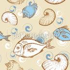 Peixe e conchas Design de padrão vetorial sem costura