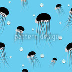 Jellyfish Seamless Vector Pattern Design