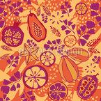 Fiesta Con Frutas Exóticas Estampado Vectorial Sin Costura
