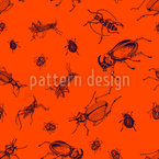 Grasshoppers And Bugs Seamless Vector Pattern Design
