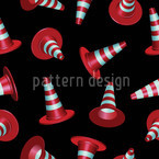 Dancing Traffic Cones Seamless Vector Pattern Design