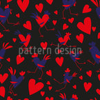 Cute Hearts And Cockerels Seamless Vector Pattern Design