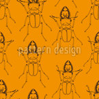 Stag Beetle Gathering Seamless Vector Pattern Design