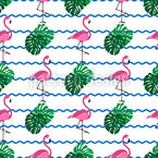 Exotic Flamingos And Palm Leaves Repeating Pattern