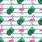 Exotische Flamingos Und Palmblätter Nahtloses Vektormuster