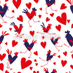 Roosters In Love Seamless Vector Pattern Design