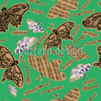 Musically Butterflies Seamless Vector Pattern Design