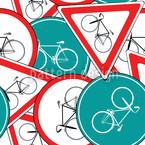 Fahrrad Verkehrszeichen Nahtloses Vektormuster