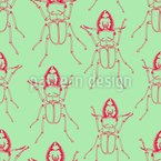 Stag Beetles In Spring Seamless Vector Pattern Design
