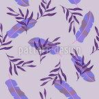 Folhas E Penas Design de padrão vetorial sem costura
