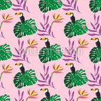 Tropische Pflanzen Und Vögel Nahtloses Vektormuster